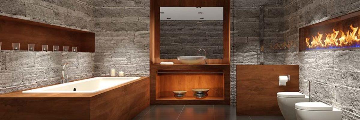 Modernes Badezimmer mit Holz und Stein
